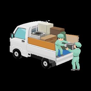 3718軽トラに荷物を積み込む回収スタッフ (1)